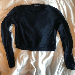 Navy Brandy Melville Cropped Sweater